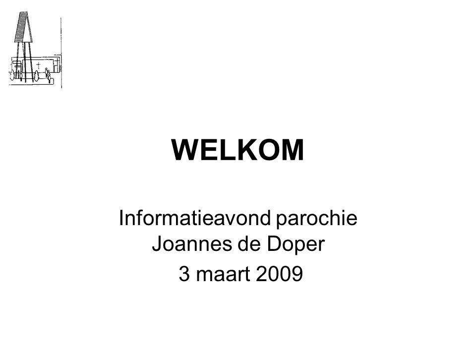 WELKOM Informatieavond parochie Joannes de Doper 3 maart 2009