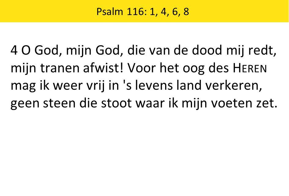 4 O God, mijn God, die van de dood mij redt, mijn tranen afwist.