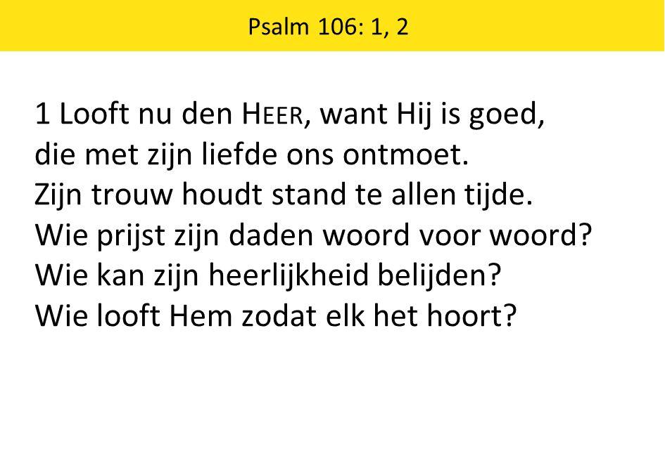 Psalm 106: 1, 2 1 Looft nu den H EER, want Hij is goed, die met zijn liefde ons ontmoet.