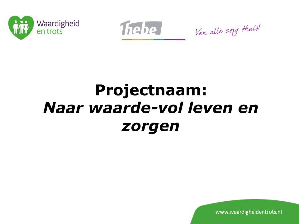 Projectnaam: Naar waarde-vol leven en zorgen www.waardigheidentrots.nl
