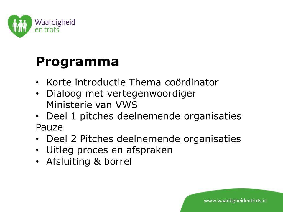 Programma Korte introductie Thema coördinator Dialoog met vertegenwoordiger Ministerie van VWS Deel 1 pitches deelnemende organisaties Pauze Deel 2 Pi
