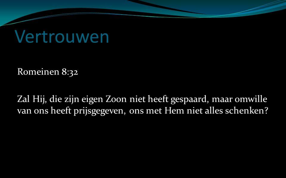 Vertrouwen Romeinen 8:32 Zal Hij, die zijn eigen Zoon niet heeft gespaard, maar omwille van ons heeft prijsgegeven, ons met Hem niet alles schenken?