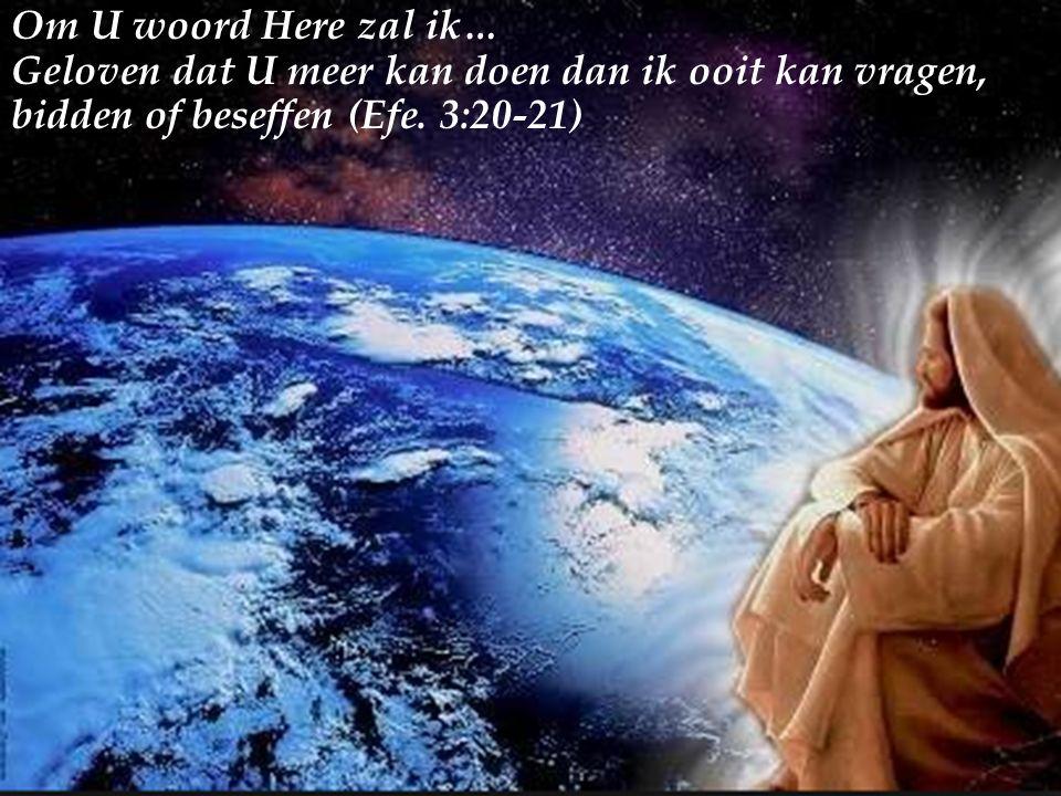 Om U woord Here zal ik… Geloven dat U meer kan doen dan ik ooit kan vragen, bidden of beseffen (Efe.