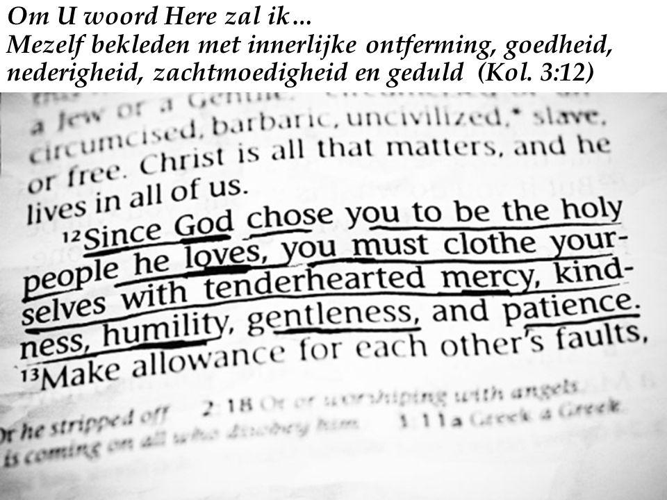 Om U woord Here zal ik… Mezelf bekleden met innerlijke ontferming, goedheid, nederigheid, zachtmoedigheid en geduld (Kol.