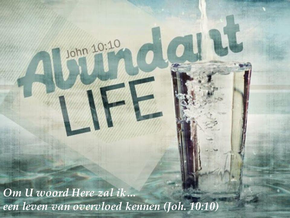 Om U woord Here zal ik… een leven van overvloed kennen (Joh. 10:10)