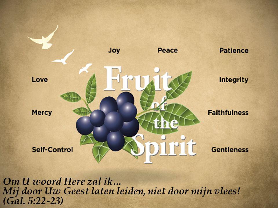 Om U woord Here zal ik… Mij door Uw Geest laten leiden, niet door mijn vlees! (Gal. 5:22-23)