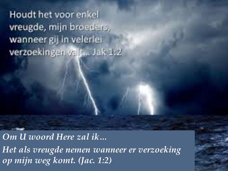 Om U woord Here zal ik… Het als vreugde nemen wanneer er verzoeking op mijn weg komt. (Jac. 1:2)