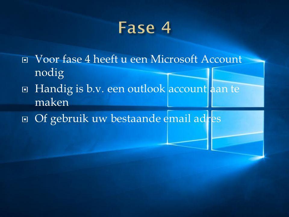  Voor fase 4 heeft u een Microsoft Account nodig  Handig is b.v.