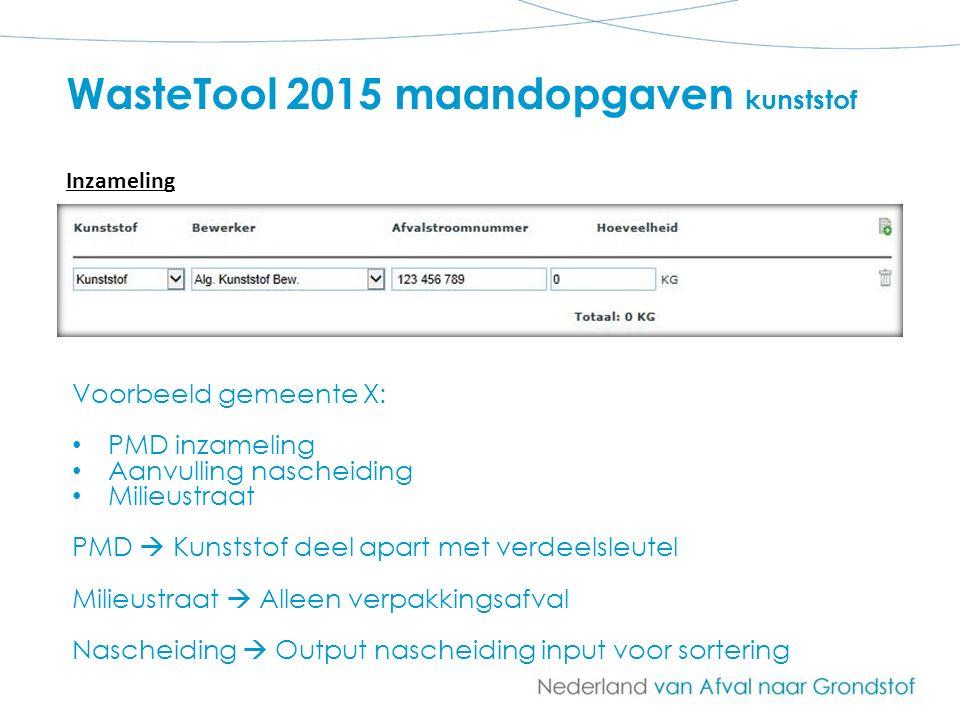 WasteTool 2015 maandopgaven kunststof Voorbeeld gemeente X: PMD inzameling Aanvulling nascheiding Milieustraat PMD  Kunststof deel apart met verdeels