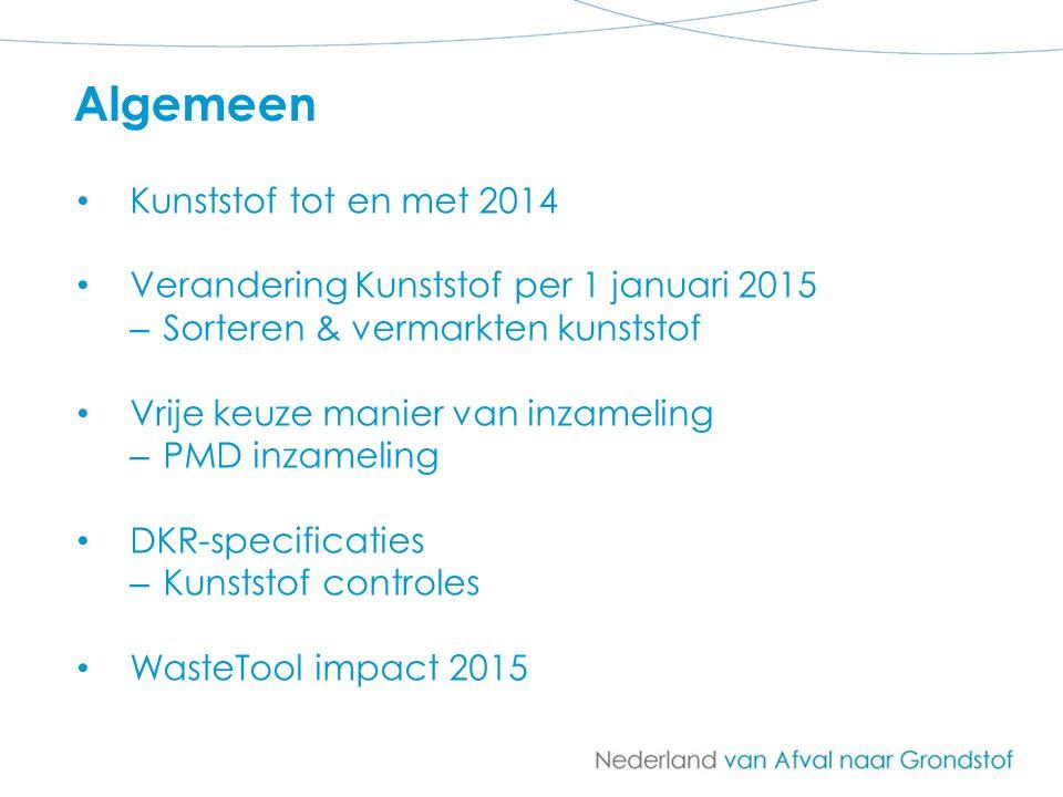 Kunststof tot en met 2014 Verandering Kunststof per 1 januari 2015 – Sorteren & vermarkten kunststof Vrije keuze manier van inzameling – PMD inzamelin