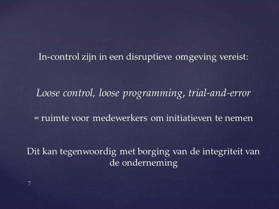 In-control zijn in een disruptieve omgeving vereist: Loose control, loose programming, trial-and-error = ruimte voor medewerkers om initiatieven te nemen Dit kan tegenwoordig met borging van de integriteit van de onderneming 7