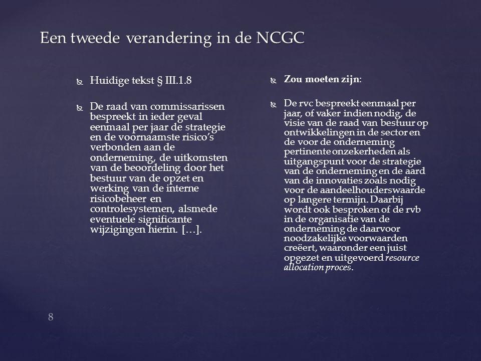 9 Een derde verandering in de NCGC   Huidige tekst § III.1.6   Het toezicht van de rvc op het bestuur omvat onder andere: a) a)De realisatie van de doelstellingen van de vennootschap b) b)De strategie en de risico's verbonden aan de ondernemingsactiviteiten c) c)De opzet en de werking van de interne risicobeheersings- en controle systemen d) d)…..