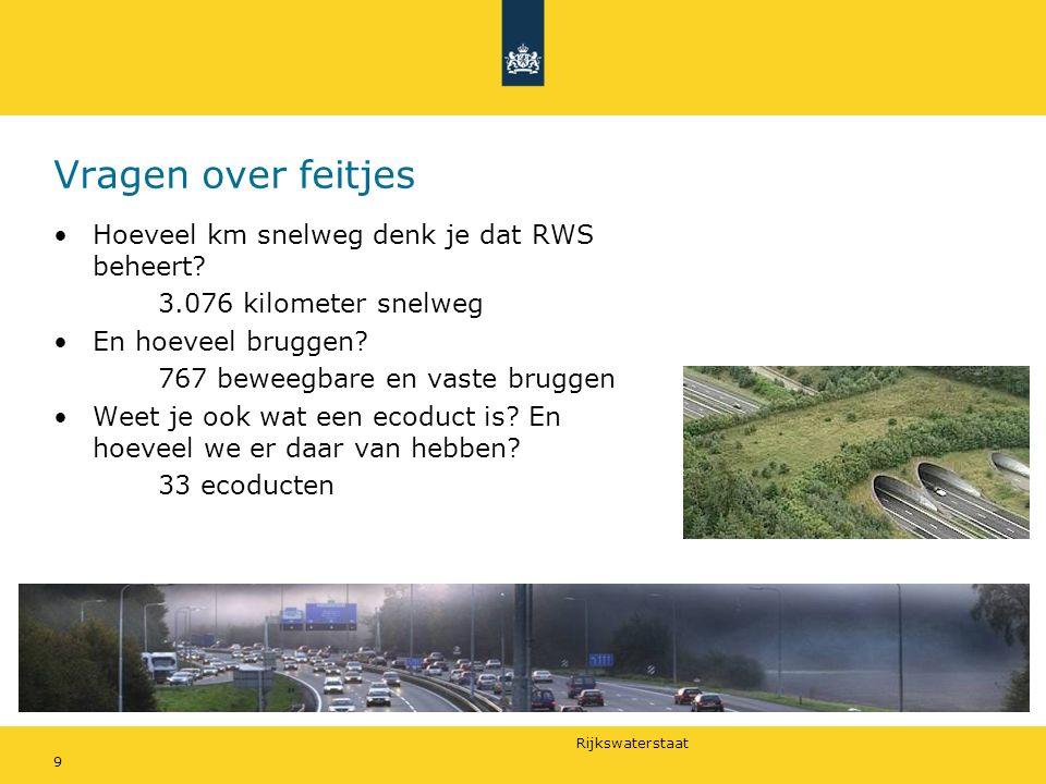 Rijkswaterstaat Vragen over feitjes Hoeveel km snelweg denk je dat RWS beheert.