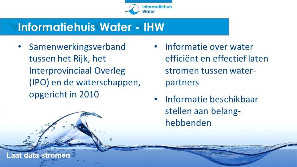 Informatiehuis Water - IHW Laat data stromen Samenwerkingsverband tussen het Rijk, het Interprovinciaal Overleg (IPO) en de waterschappen, opgericht i