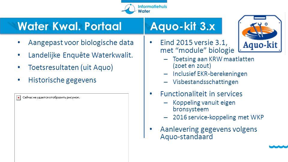 Water Kwal. PortaalAquo-kit 3.x Aangepast voor biologische data Landelijke Enquête Waterkwalit. Toetsresultaten (uit Aquo) Historische gegevens Eind 2