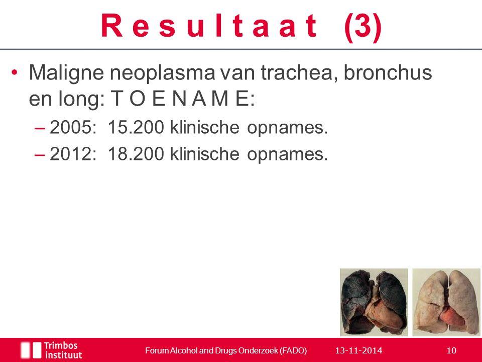 Maligne neoplasma van trachea, bronchus en long: T O E N A M E: –2005:15.200 klinische opnames. –2012:18.200 klinische opnames. Forum Alcohol and Drug