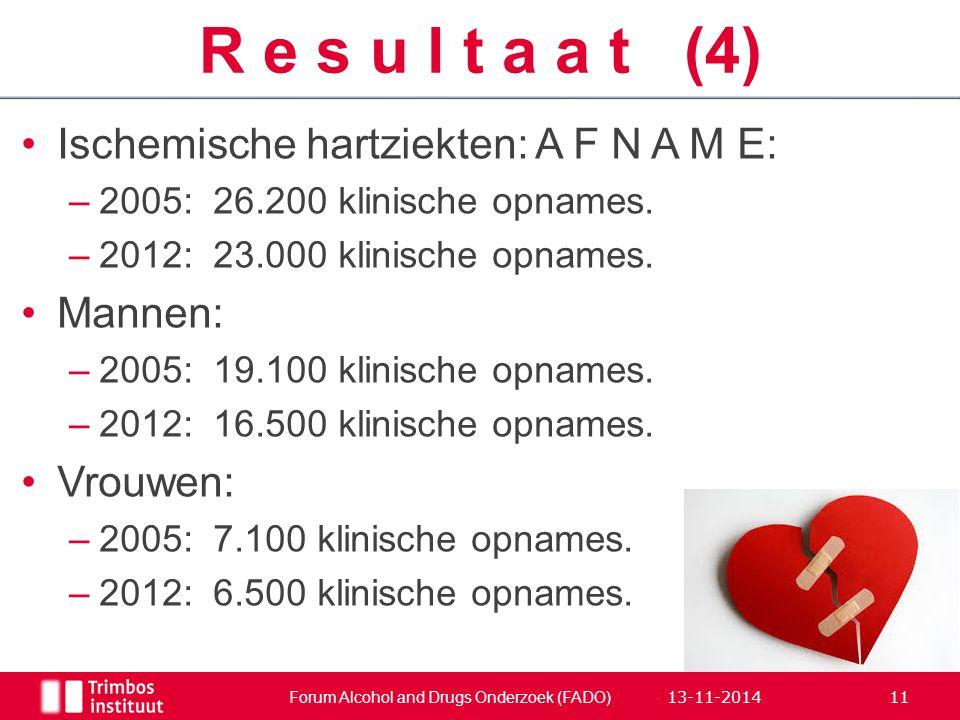 Ischemische hartziekten: A F N A M E: –2005:26.200 klinische opnames. –2012:23.000 klinische opnames. Mannen: –2005:19.100 klinische opnames. –2012:16
