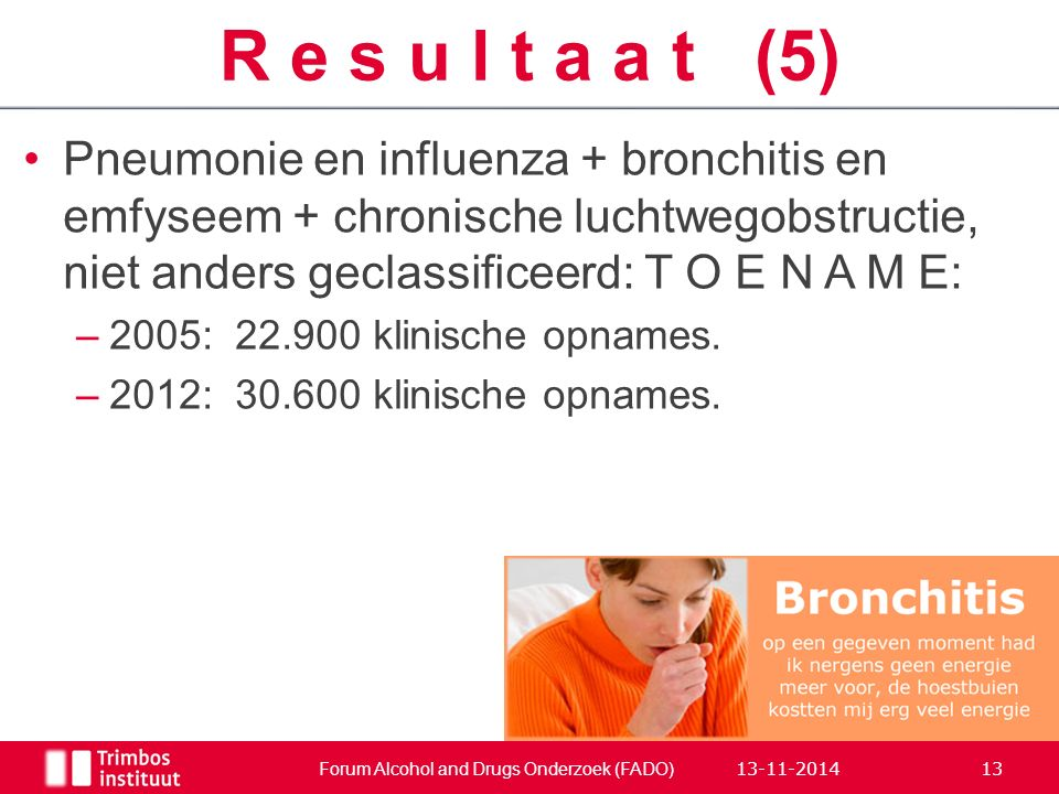 Pneumonie en influenza + bronchitis en emfyseem + chronische luchtwegobstructie, niet anders geclassificeerd: T O E N A M E: –2005:22.900 klinische opnames.