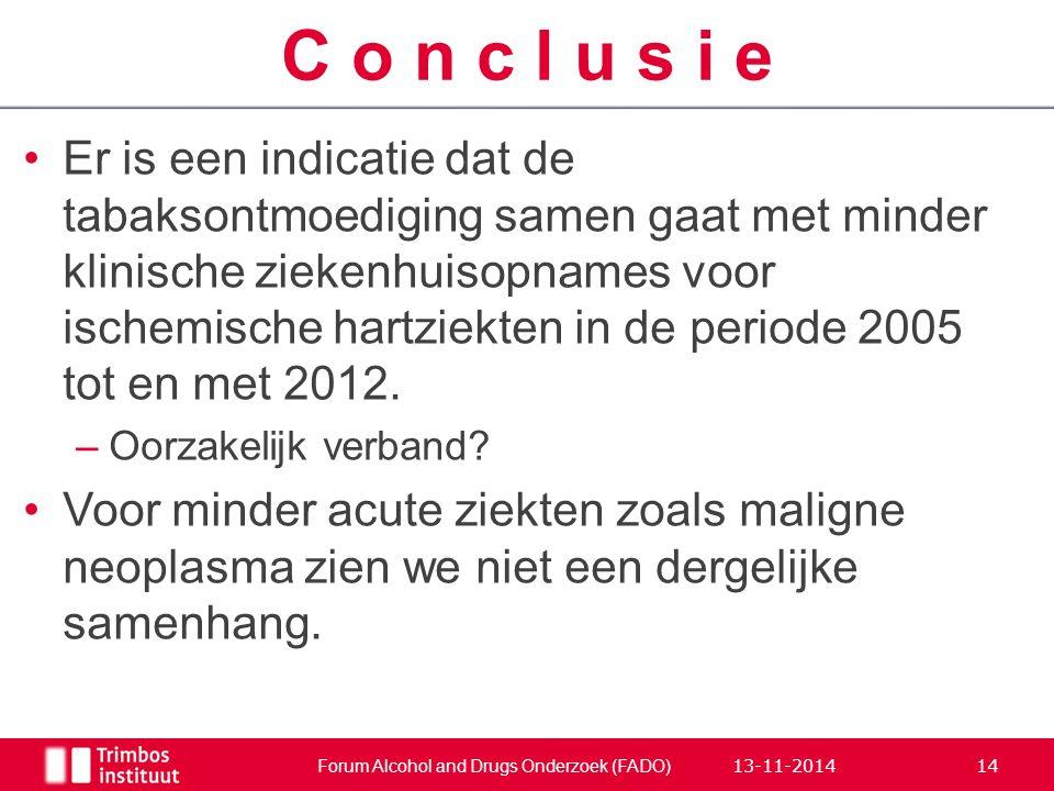 Er is een indicatie dat de tabaksontmoediging samen gaat met minder klinische ziekenhuisopnames voor ischemische hartziekten in de periode 2005 tot en met 2012.