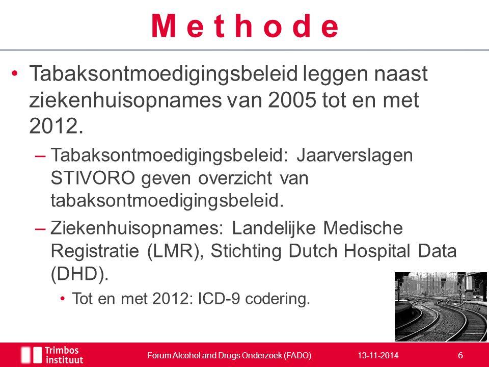 Tabaksontmoedigingsbeleid leggen naast ziekenhuisopnames van 2005 tot en met 2012. –Tabaksontmoedigingsbeleid: Jaarverslagen STIVORO geven overzicht v