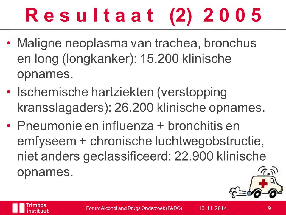 Maligne neoplasma van trachea, bronchus en long (longkanker): 15.200 klinische opnames. Ischemische hartziekten (verstopping kransslagaders): 26.200 k