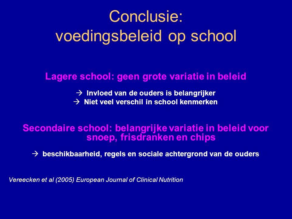 Conclusie: voedingsbeleid op school Lagere school: geen grote variatie in beleid  Invloed van de ouders is belangrijker  Niet veel verschil in schoo