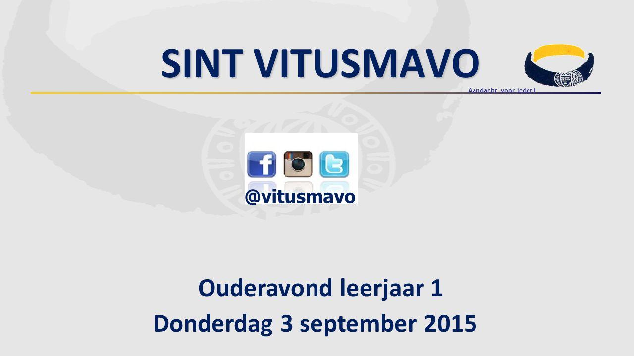 Ouderavond leerjaar 1 Donderdag 3 september 2015 @vitusmavo SINT VITUSMAVO Aandacht voor ieder1