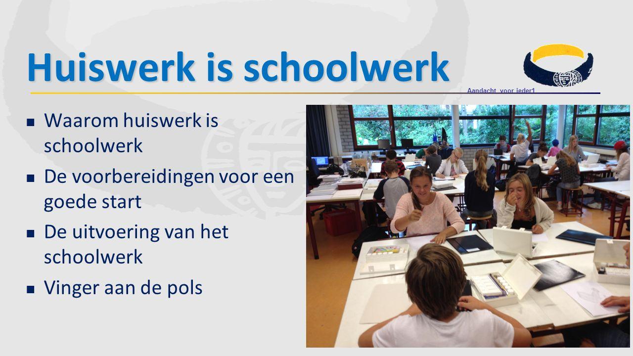Huiswerk is schoolwerk Waarom huiswerk is schoolwerk De voorbereidingen voor een goede start De uitvoering van het schoolwerk Vinger aan de pols Aanda
