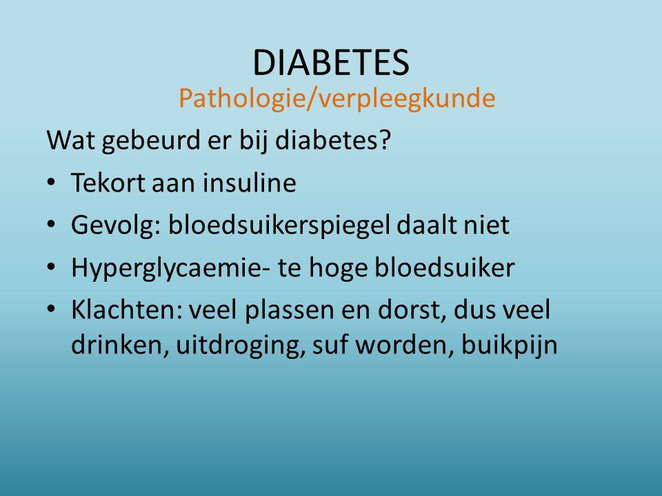 DIABETES Pathologie/verpleegkunde Wat gebeurd er bij diabetes.
