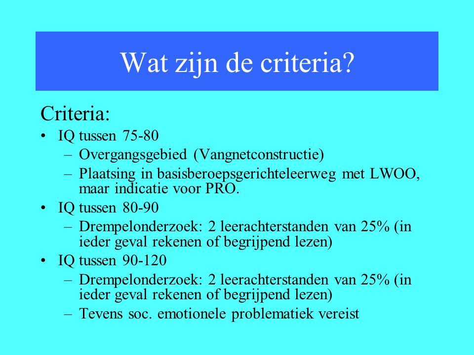 Criteria: IQ tussen 75-80 –Overgangsgebied (Vangnetconstructie) –Plaatsing in basisberoepsgerichteleerweg met LWOO, maar indicatie voor PRO.