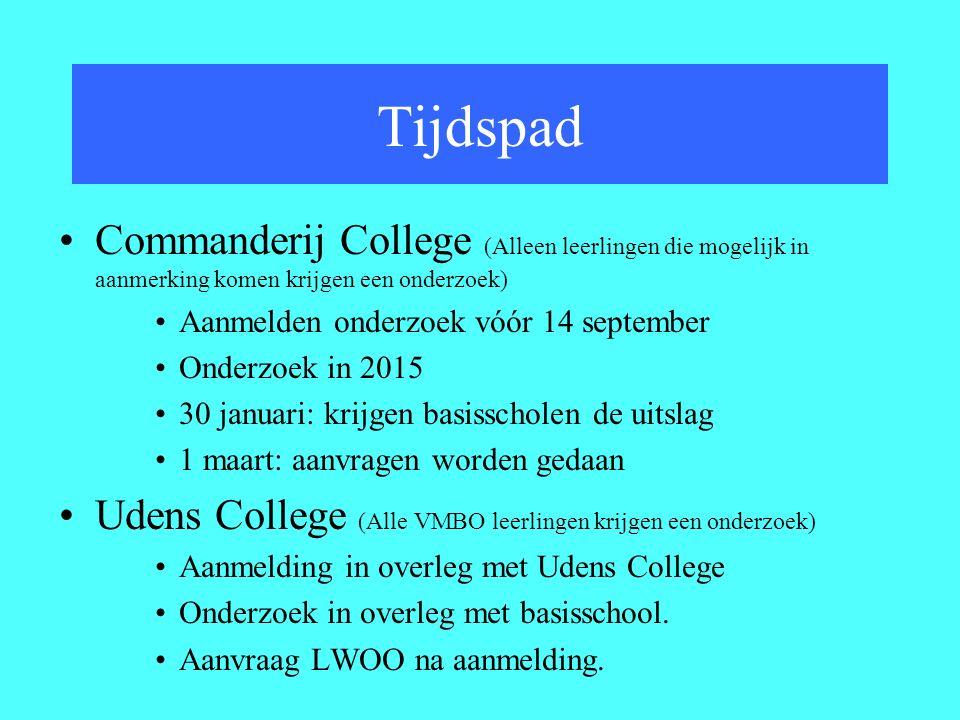 Commanderij College (Alleen leerlingen die mogelijk in aanmerking komen krijgen een onderzoek) Aanmelden onderzoek vóór 14 september Onderzoek in 2015