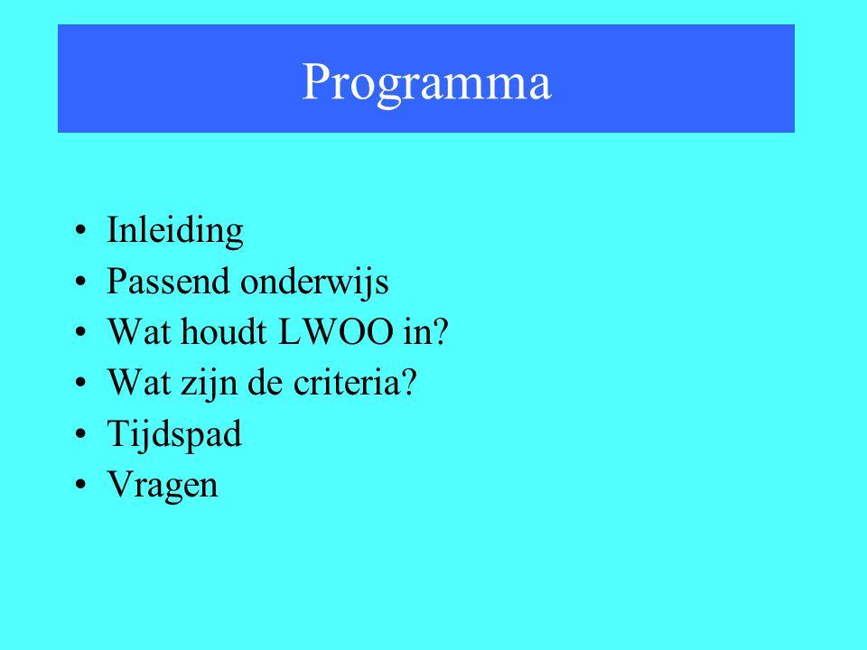 Programma Inleiding Passend onderwijs Wat houdt LWOO in? Wat zijn de criteria? Tijdspad Vragen