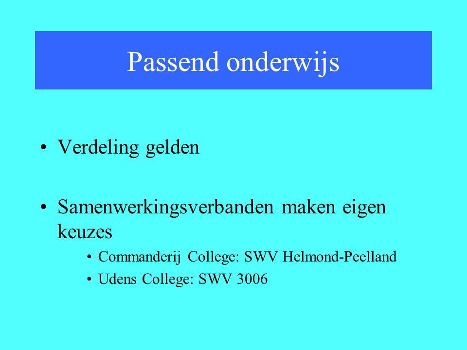 Verdeling gelden Samenwerkingsverbanden maken eigen keuzes Commanderij College: SWV Helmond-Peelland Udens College: SWV 3006