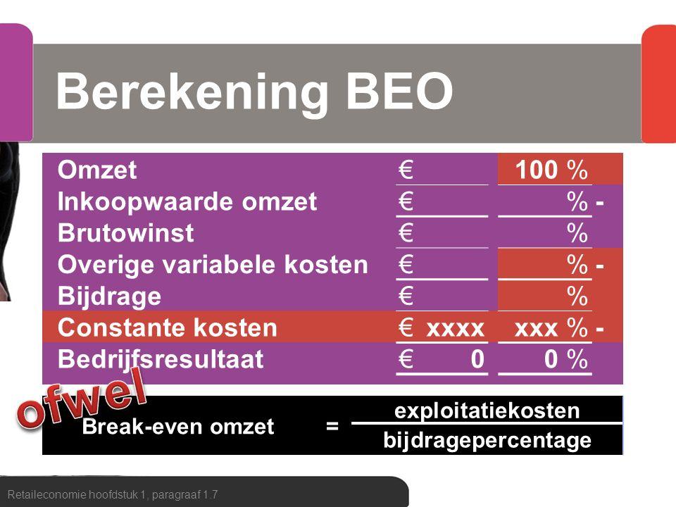 Berekening BEO Retaileconomie hoofdstuk 1, paragraaf 1.7 Omzet€100% Inkoopwaarde omzet€%- Brutowinst€% Overige variabele kosten€%- Bijdrage€% Constant