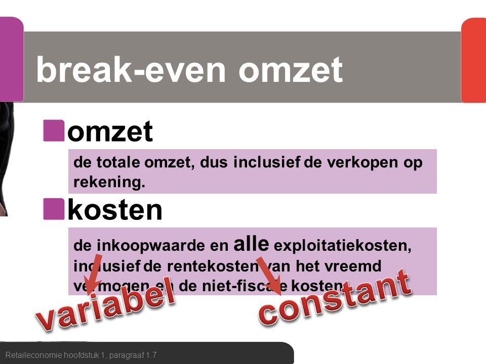 Berekening BEA Retaileconomie hoofdstuk 1, paragraaf 1.7 Break-even afzet= exploitatiekosten brutowinst per artikel Je hebt een partij jeans kunnen inkopen voor € 5,50 per stuk.