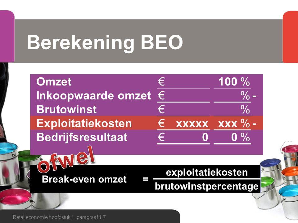 Berekening BEO Retaileconomie hoofdstuk 1, paragraaf 1.7 Omzet€100% Inkoopwaarde omzet€%- Brutowinst€% Exploitatiekosten€xxxxxxxx%- Bedrijfsresultaat€