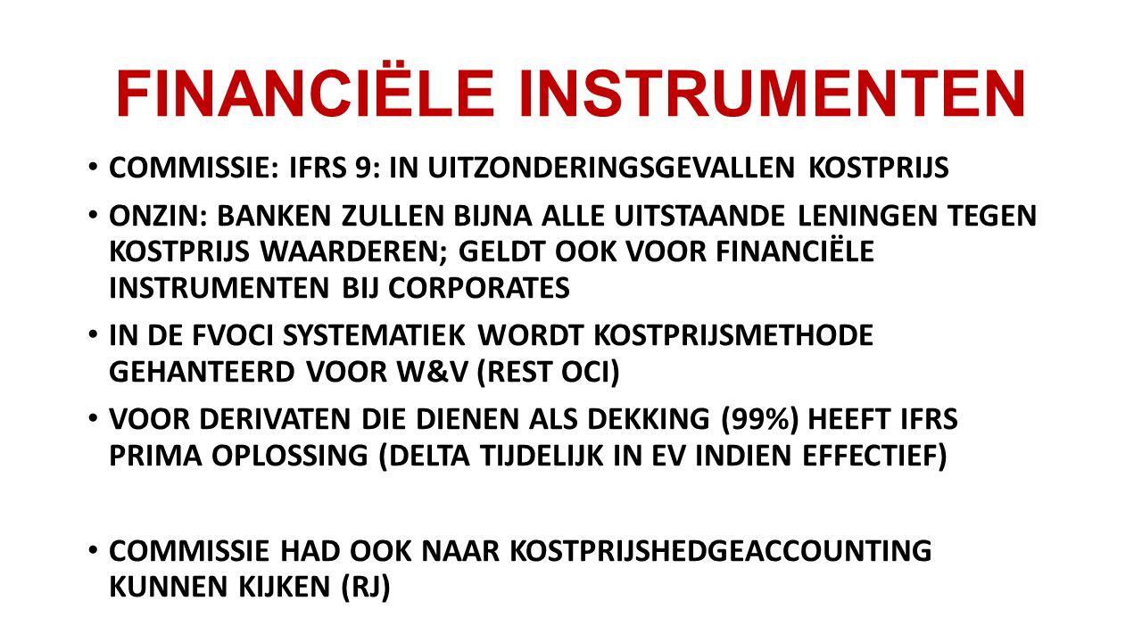 FINANCIËLE INSTRUMENTEN COMMISSIE: IFRS 9: IN UITZONDERINGSGEVALLEN KOSTPRIJS ONZIN: BANKEN ZULLEN BIJNA ALLE UITSTAANDE LENINGEN TEGEN KOSTPRIJS WAARDEREN; GELDT OOK VOOR FINANCIËLE INSTRUMENTEN BIJ CORPORATES IN DE FVOCI SYSTEMATIEK WORDT KOSTPRIJSMETHODE GEHANTEERD VOOR W&V (REST OCI) VOOR DERIVATEN DIE DIENEN ALS DEKKING (99%) HEEFT IFRS PRIMA OPLOSSING (DELTA TIJDELIJK IN EV INDIEN EFFECTIEF) COMMISSIE HAD OOK NAAR KOSTPRIJSHEDGEACCOUNTING KUNNEN KIJKEN (RJ)