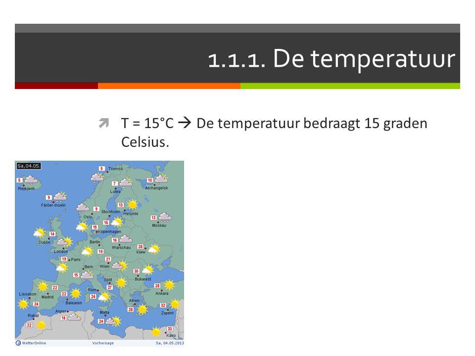  T = 15°C  De temperatuur bedraagt 15 graden Celsius.