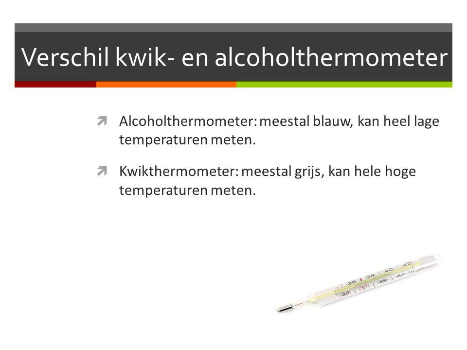 Verschil kwik- en alcoholthermometer  Alcoholthermometer: meestal blauw, kan heel lage temperaturen meten.