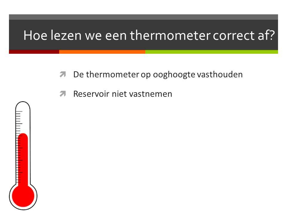 Hoe lezen we een thermometer correct af.