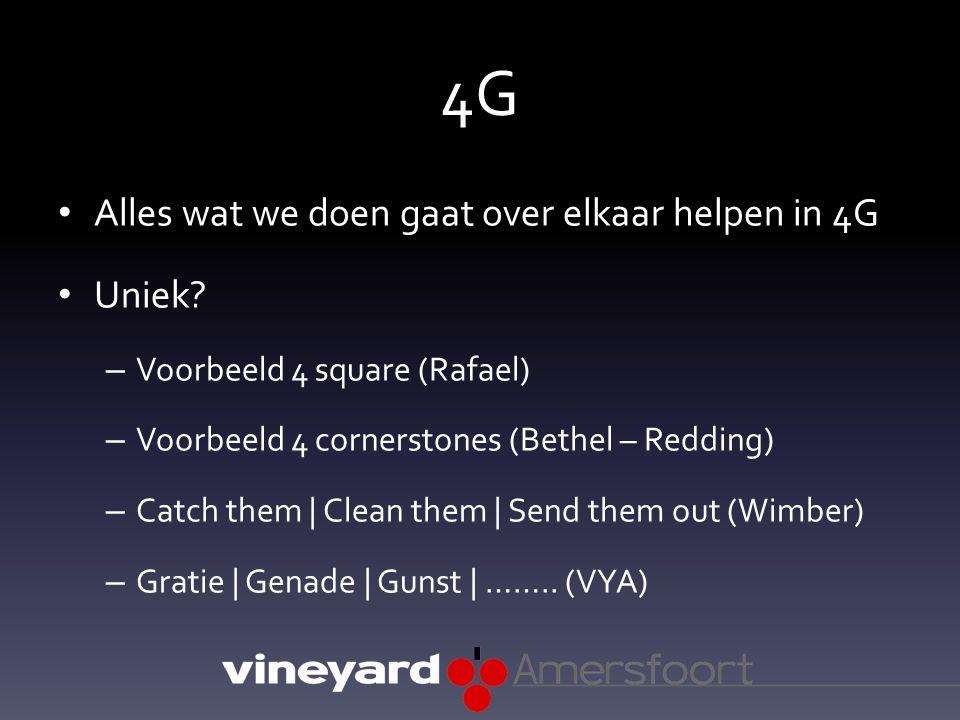 4G Alles wat we doen gaat over elkaar helpen in 4G Uniek? – Voorbeeld 4 square (Rafael) – Voorbeeld 4 cornerstones (Bethel – Redding) – Catch them | C