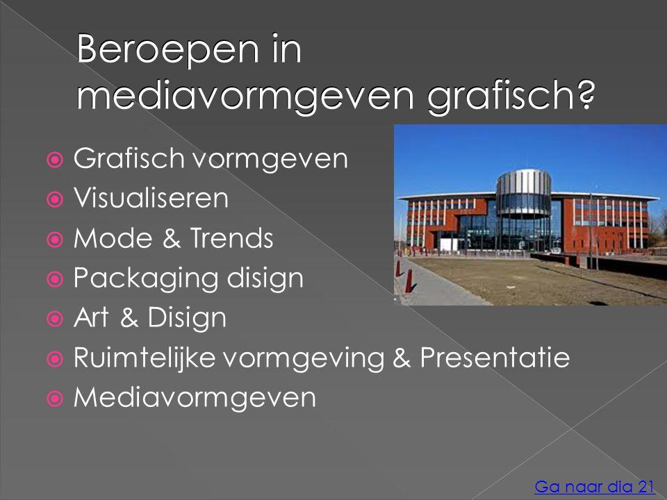 Beroepen in mediavormgeven grafisch?  Grafisch vormgeven  Visualiseren  Mode & Trends  Packaging disign  Art & Disign  Ruimtelijke vormgeving &