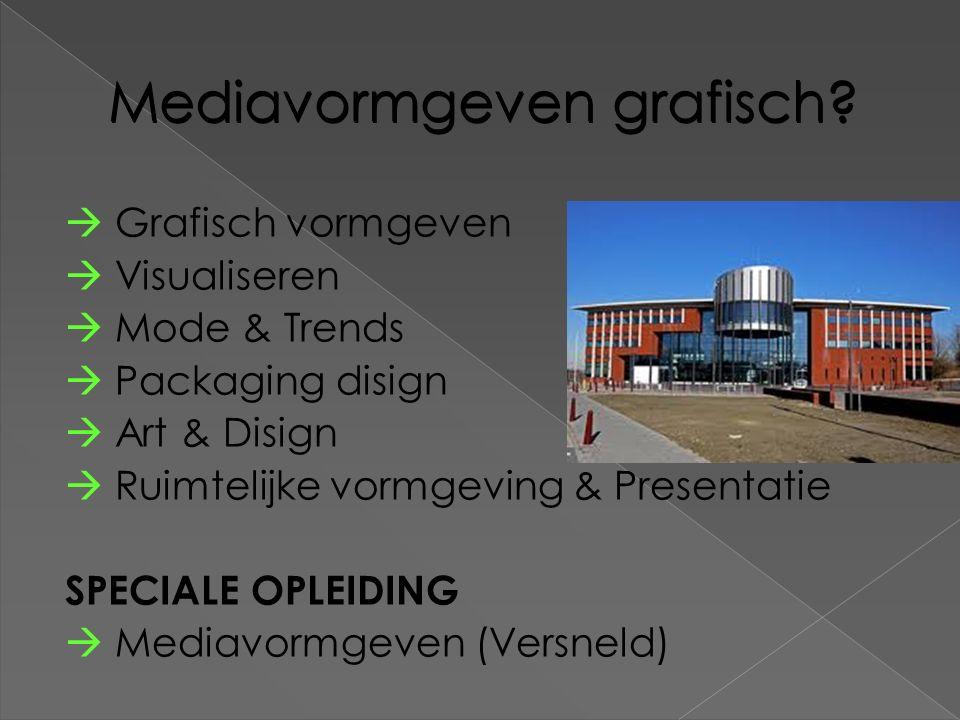 Mediavormgeven grafisch?  Grafisch vormgeven  Visualiseren  Mode & Trends  Packaging disign  Art & Disign  Ruimtelijke vormgeving & Presentatie