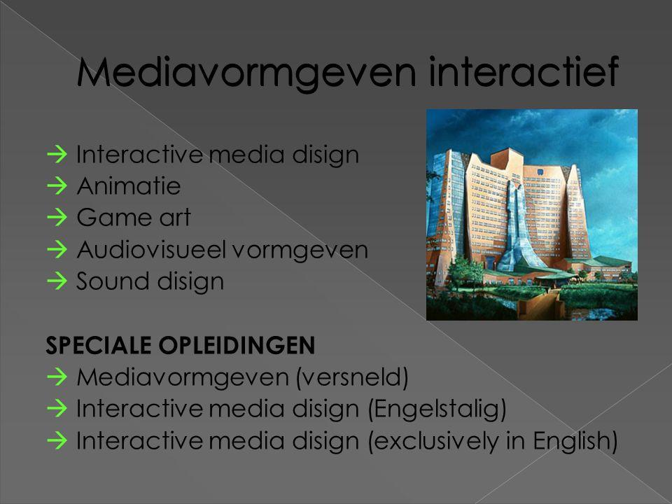 Mediavormgeven interactief  Interactive media disign  Animatie  Game art  Audiovisueel vormgeven  Sound disign SPECIALE OPLEIDINGEN  Mediavormge