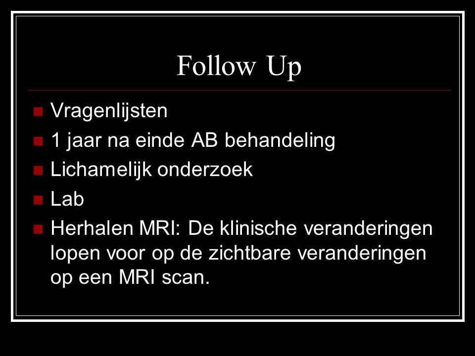 Follow Up Vragenlijsten 1 jaar na einde AB behandeling Lichamelijk onderzoek Lab Herhalen MRI: De klinische veranderingen lopen voor op de zichtbare v
