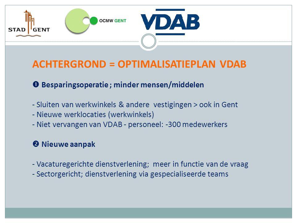 ACHTERGROND = OPTIMALISATIEPLAN VDAB  Besparingsoperatie ; minder mensen/middelen - Sluiten van werkwinkels & andere vestigingen > ook in Gent - Nieuwe werklocaties (werkwinkels) - Niet vervangen van VDAB - personeel: -300 medewerkers  Nieuwe aanpak - Vacaturegerichte dienstverlening; meer in functie van de vraag - Sectorgericht; dienstverlening via gespecialiseerde teams