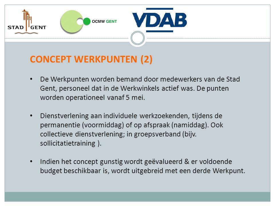 CONCEPT WERKPUNTEN (2) De Werkpunten worden bemand door medewerkers van de Stad Gent, personeel dat in de Werkwinkels actief was. De punten worden ope