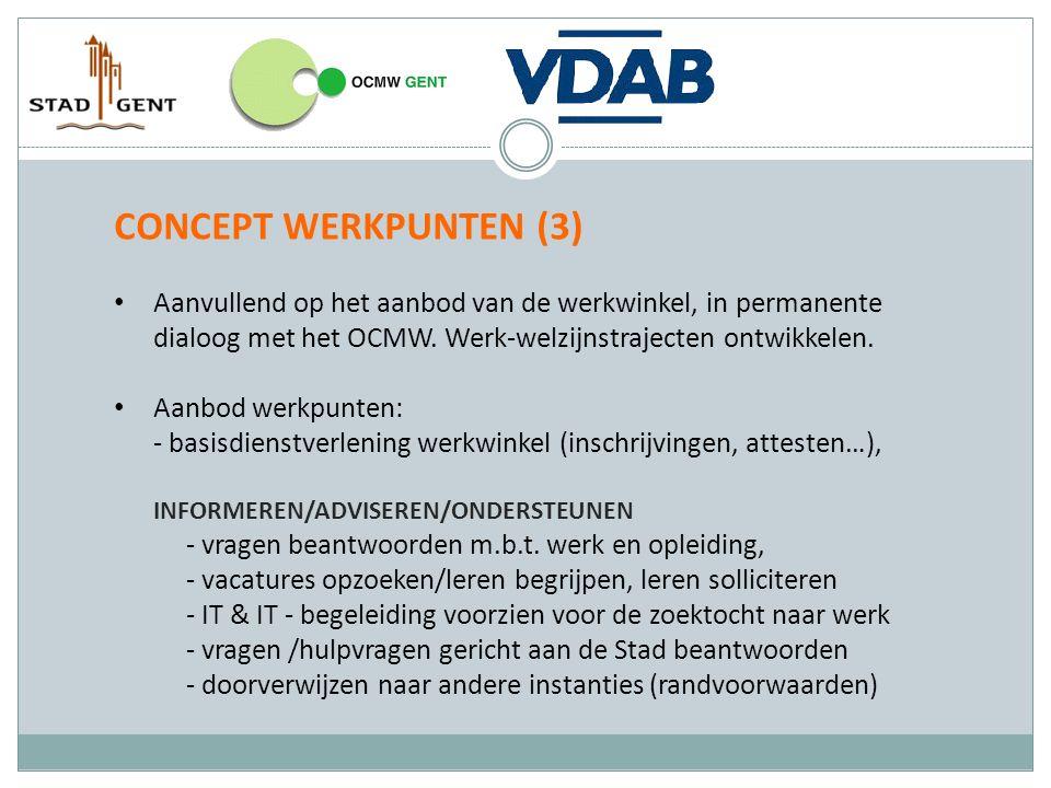 CONCEPT WERKPUNTEN (3) Aanvullend op het aanbod van de werkwinkel, in permanente dialoog met het OCMW. Werk-welzijnstrajecten ontwikkelen. Aanbod werk