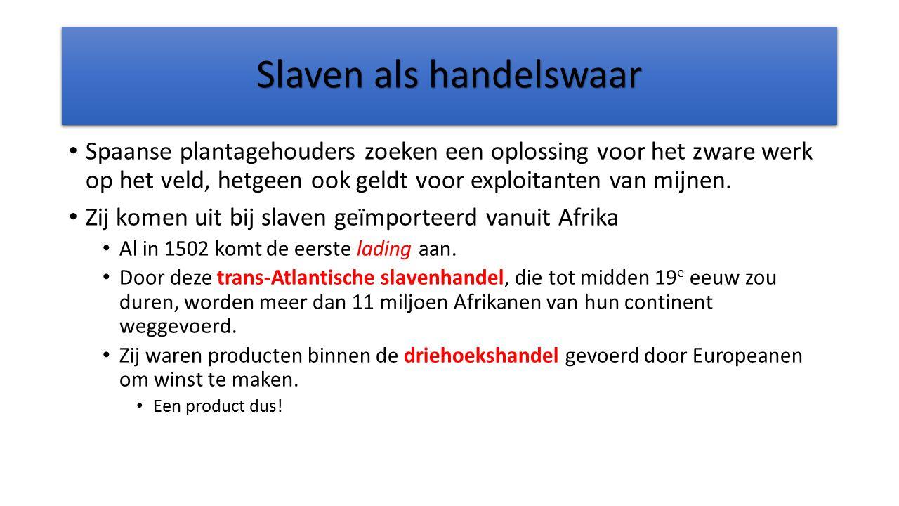 Slaven als handelswaar Spaanse plantagehouders zoeken een oplossing voor het zware werk op het veld, hetgeen ook geldt voor exploitanten van mijnen. Z