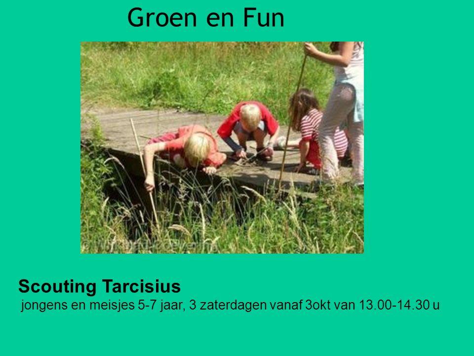 Groen en Fun Scouting Tarcisius jongens en meisjes 5-7 jaar, 3 zaterdagen vanaf 3okt van 13.00-14.30 u